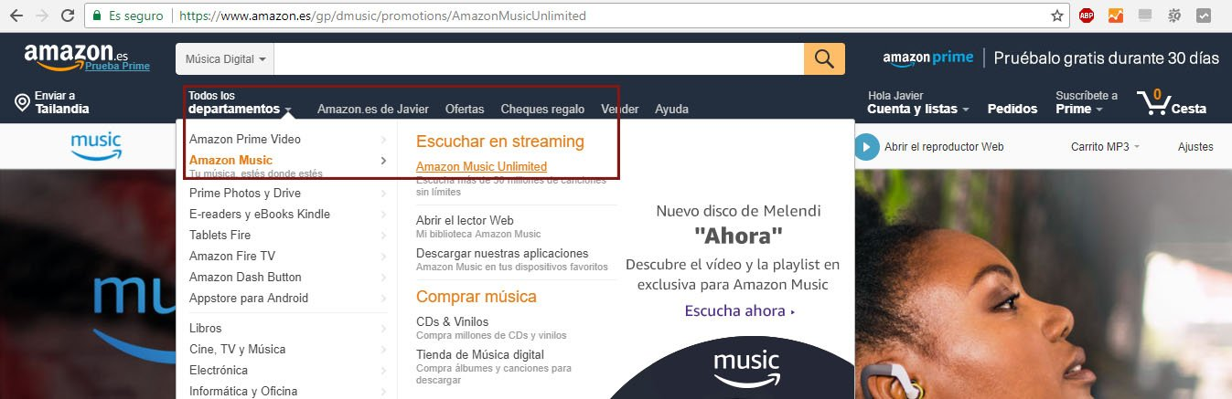 Amazon Music Unlimited Perromochilero